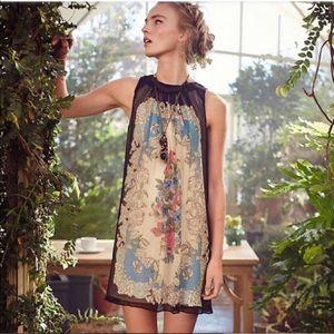 { Anthro} varese silk floral swing boho dress